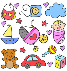 Doodle of baby set design style vector