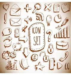 Doodle set of vintage internet icons vector image