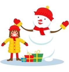 girl and snowman Christmas vector image vector image