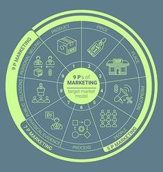 Green outline marketing 9 p scheme icons vector