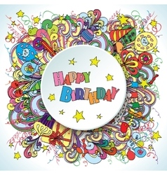 Happy birthday doodle greeting card on background vector