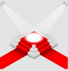 illuminated square podium isometric vector image vector image