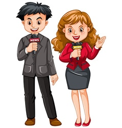 Male and female reporters vector