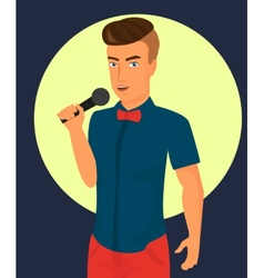 Male rock singer with microphone vector