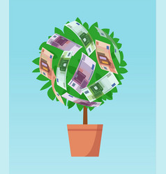 Money tree with euro banknotes growing vector