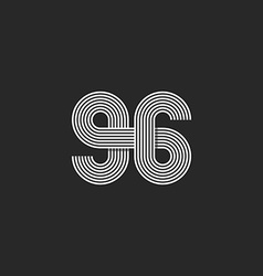 Number logo 96 creative offset thin line monogram vector
