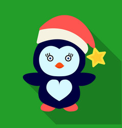 Penguin in the christmas cap icon in flat style vector