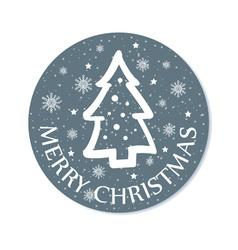 Round christmas greeting with christmas tree grey vector