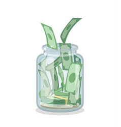 Saving flat money jar vector