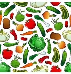 Seamless pattern of fresh vegetables vector image vector image