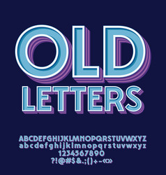 Set of old decorative letters numbers and symbols vector