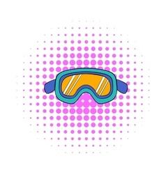 Ski goggles icon comics style vector
