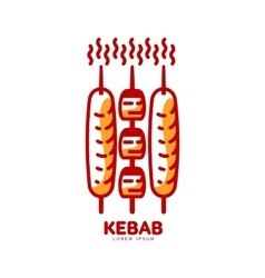 Stylized hot freshly grilled turkish kebab logo vector