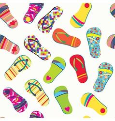 Summer flip flops seamless pattern funny vector image