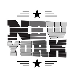 T shirt New York black gray white star vector image