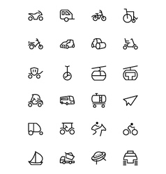 Transport line icons 4 vector