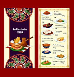 Turkish cuisine menu with delights and meat dishes vector