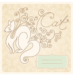 vintage cat vector image