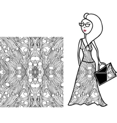 White and black fabric for woman dress vector