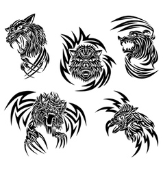 Wild animals tattoo vector image vector image