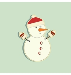Snowy snowman Festive and Christmas greeting card vector image
