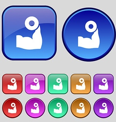 Arm muscle with dumbbell in hand icon sign A set vector image