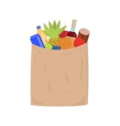 Market paper shopping bag full groceries vector