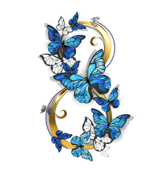 Eight of morpho butterflies vector