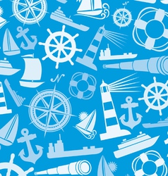Nautical and marine icons seamless background vector