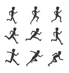 Black man running figure isolated on white vector