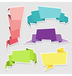 Set of colorful origami paper banners vector