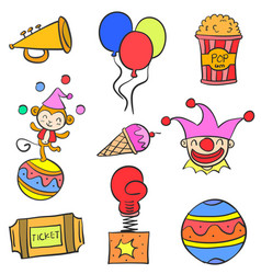 doodle of circus colorful element vector image