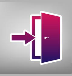 Door exit sign purple gradient icon on vector
