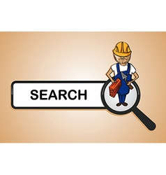 Service search constructor boy cartoon vector