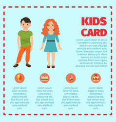 Blue kids card infographic vector