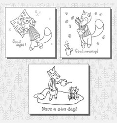 Set of images with cute cartoon fox vector