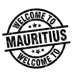 Welcome to mauritius black stamp vector