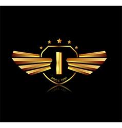Letter I winged crests logo Alphabet logotype vector image
