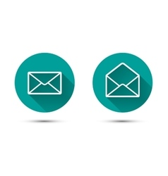 Open and close envelope icons with long shadow on vector