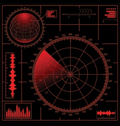digital radar screen with globe vector image
