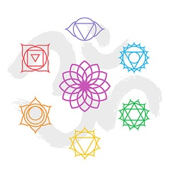 Color chakra icon set outline with om background vector