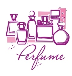 Set of hand drawn perfume bottles vector