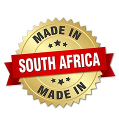 Made in south africa gold badge with red ribbon vector