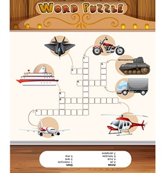 Word puzzle game template with transportations vector