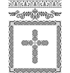 Vintage frame cross vector