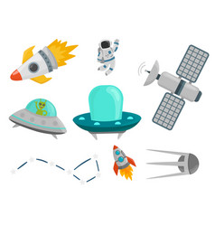 astronaut space landing planets spaceship future vector image