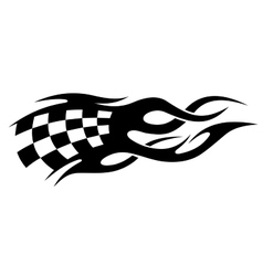 Black and white checkered flag in motion vector