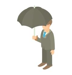 Business man with black umbrella icon vector image vector image