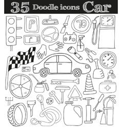 Car and drive set of 35 doodle icon vector