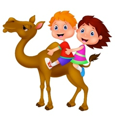 Cartoon Boy and girl riding camel vector image